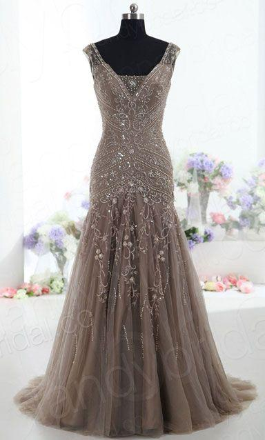 زفاف - Grey Evening Dress Top Sexy Mermaid V Neck Sweep Train Tulle Gray Prom Dresses From Dresscomeon