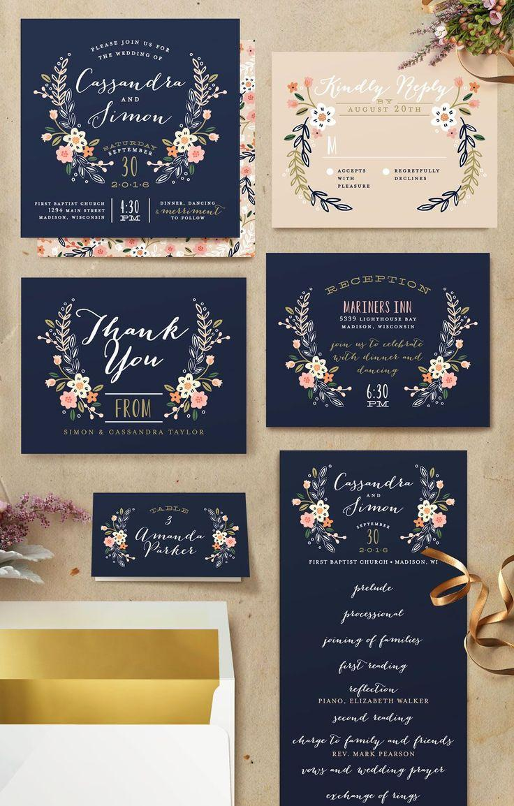 "Свадьба - ""Wildflower Crest"" - Customizable Wedding Invitations In Blue By Alethea And Ruth"