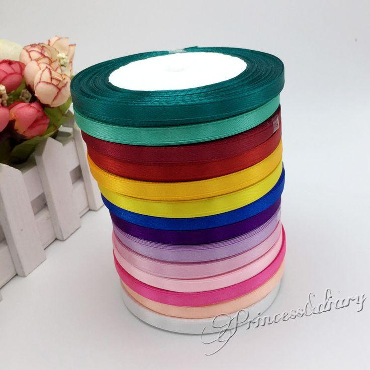 Hochzeit - 13 Colors Solid Color 1 Roll 25 Yard 1/4″(6mm) Single Face Satin Ribbon
