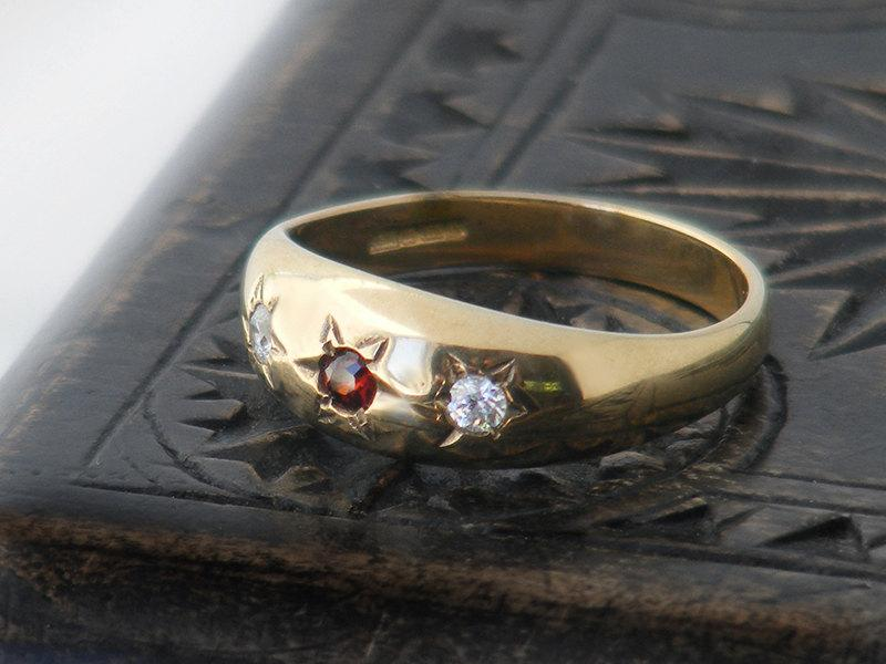 Gypsy Set Vintage Ring Garnet White Topaz 9ct Gold Ring