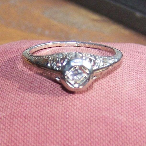 Mariage - Diamond Ring, Old European, 18kt White Gold, 1900's, ONSale