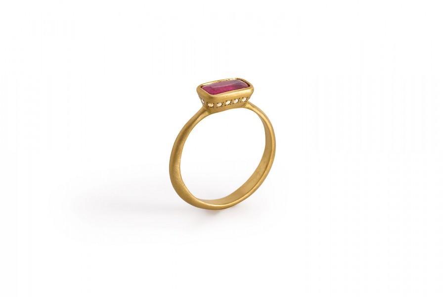 Wedding - Ruby Ring, 22K Gold Ddiamond Engagement Ring, Gemstone Ring, Ruby Birthstone Solid Gold Ring.