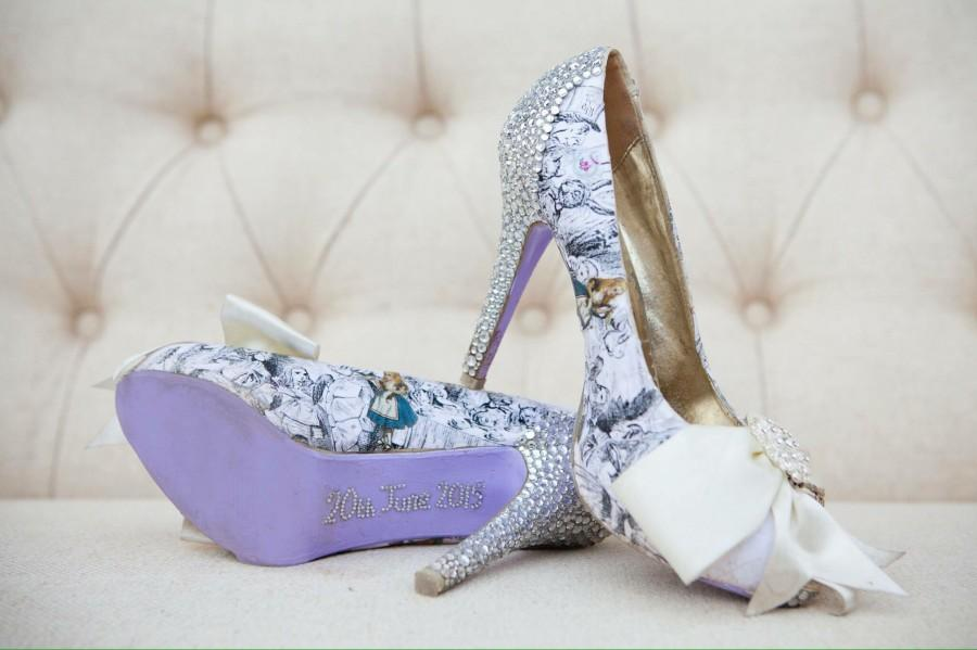 Wedding - Custom Alice in Wonderland Wedding Shoes