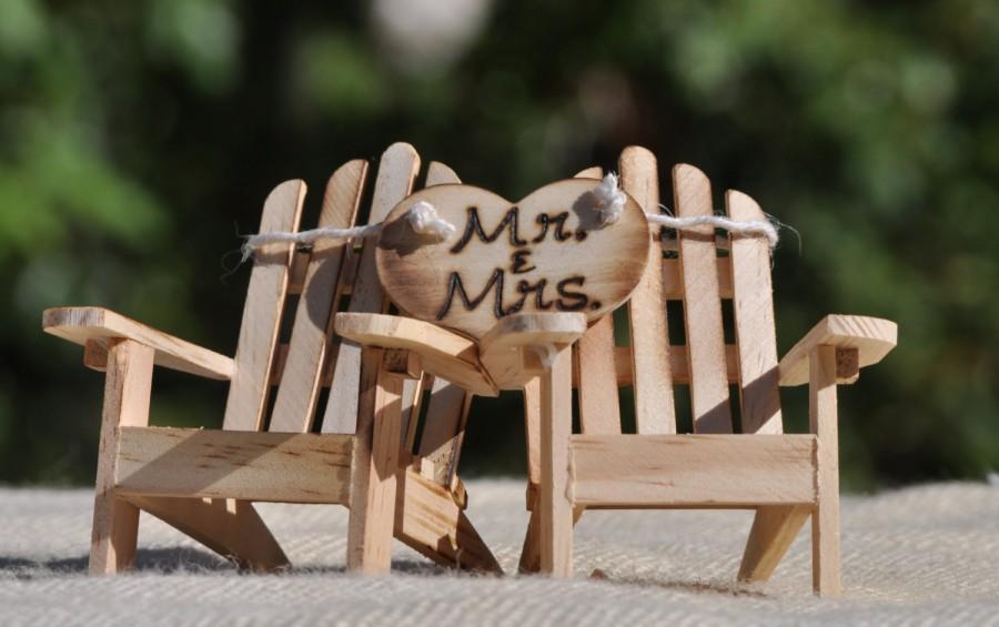 Hochzeit - Cake Topper Adirondack Chairs-Beach Wedding-Cottage Wedding-Shabby Chic- Rustic Chic Burned/Engraved Mr. & Mrs. Adirondack cake toppers