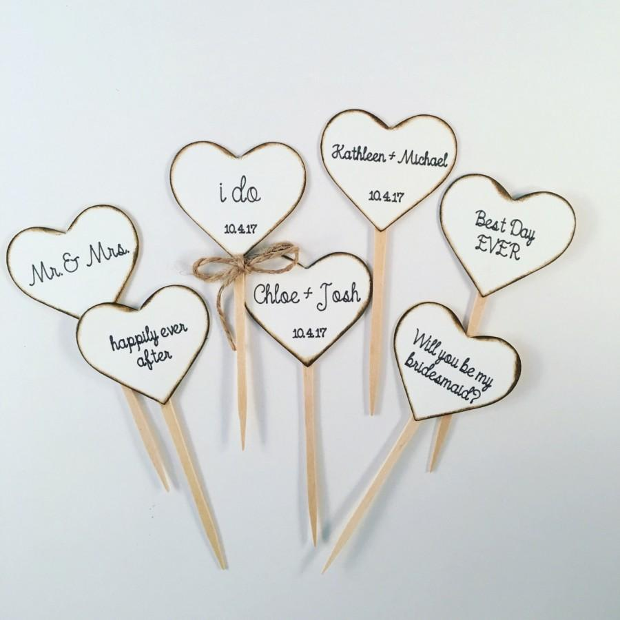 rustic heart cupcake toppers for weddings and bridal showers cupcake toppers comes in white or cream hearts personalizing available
