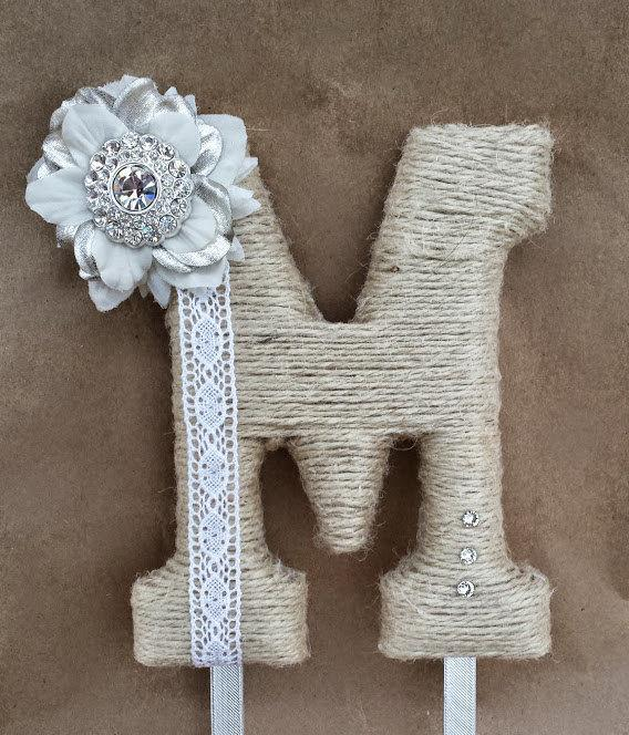 Hochzeit - Perfectly Rustic Monogram Cake Topper; Burlap Cake Topper; White Jeweled Cake Initial; Unique Barn Wedding; Boho Chic Hippie Wedding