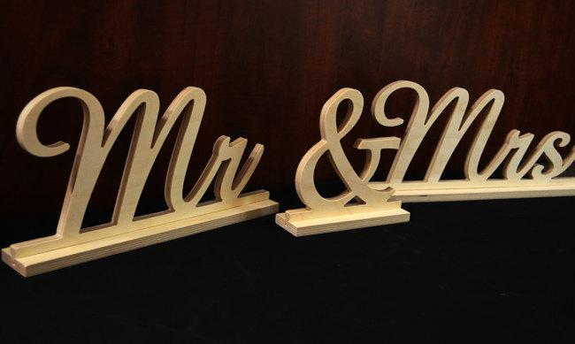 Mr And Mrs Wooden Sign Freestanding Sweetheart Table Wedding Diy