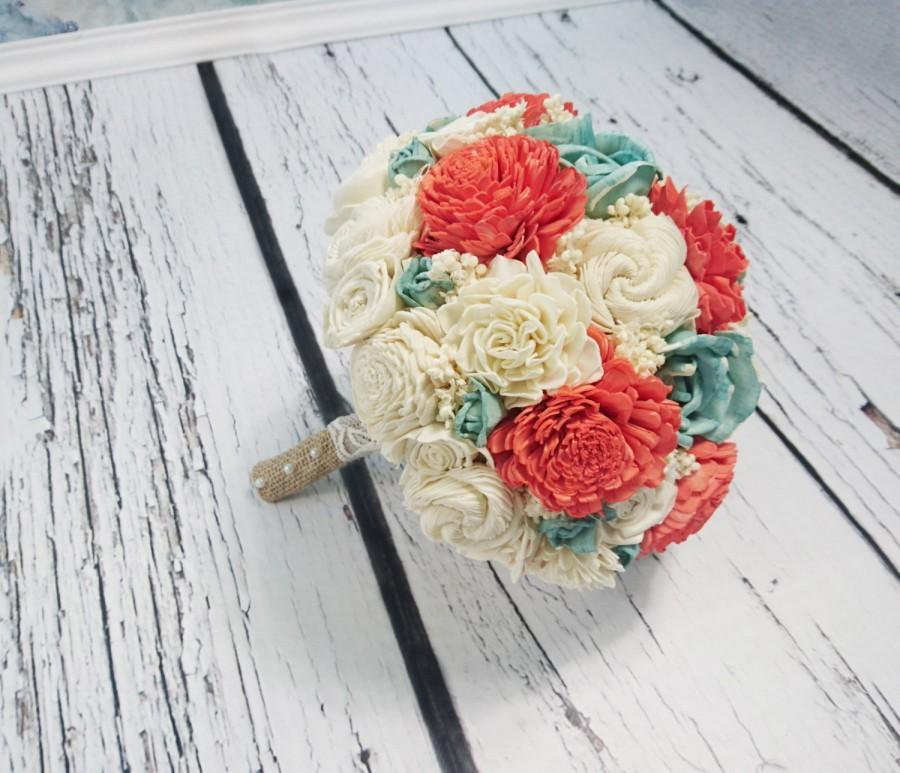 Hochzeit - BIG coral reef mint cream ivory brown rustic beach summer wedding BOUQUET Flowers, sola roses, Burlap Handle, sorghum, custom made on order
