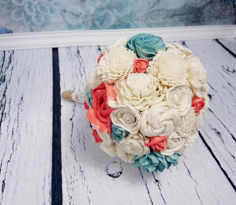 Свадьба - MEDIUM ivory mint Coral reef rustic beach summer wedding BOUQUET sola Flowers Burlap lace Bridesmaid toss flower girl roses vintage custom