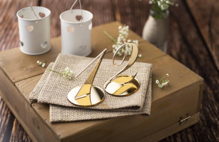 Свадьба - Wedding Table Numbers, Bling Table Numbers, Custom Order, Gold Mirror Table Numbers