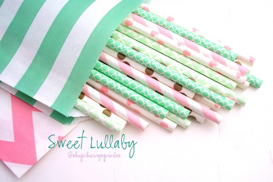 Свадьба - Mint and Pink Party -Mint Straws -Pink Straws, Gold Straws, Gold party supplies -Mint wedding decor, Pink Party, Wedding Decorations, Blush