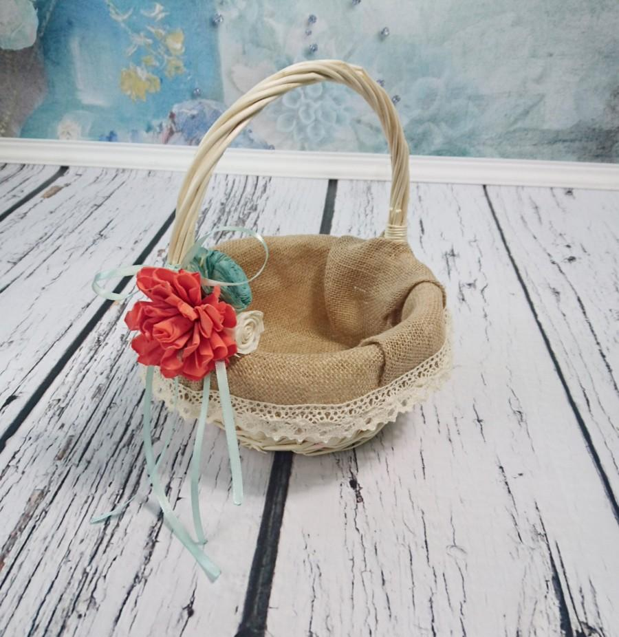Свадьба - Flower girl basket burlap lace sola flower cream ivory coral mint beach rustic woodland summer spring wedding sola roses vintage custom
