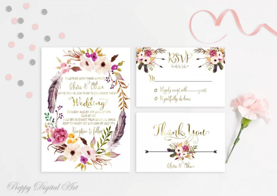 Fl Wreath Wedding Invitation Boho Chic Suite Bohemian Feather Invite Gold Foil Typography Spring Summer
