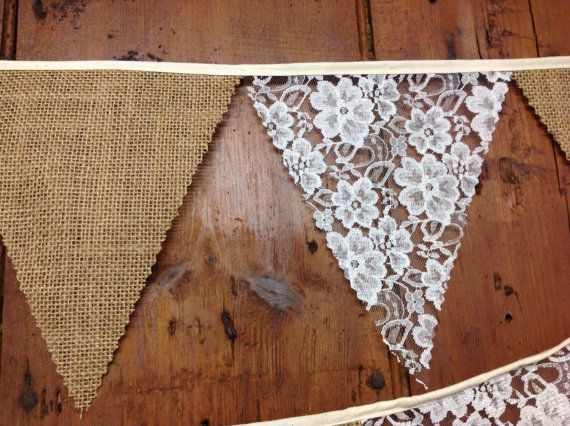 Admirable Hessian Ivory Lace Wedding Bunting Banner 34Ft 10Mts 58 Interior Design Ideas Clesiryabchikinfo