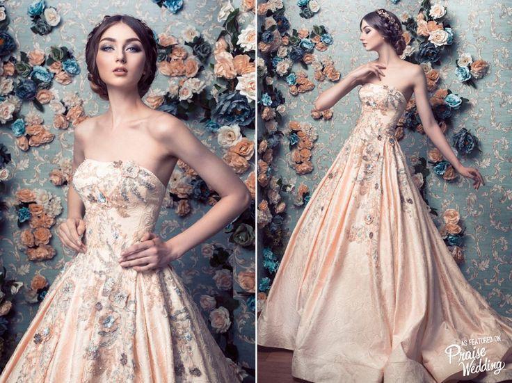 Gorgeous Metallic Peach Jessica Sim Bridal Gown With Unique ...