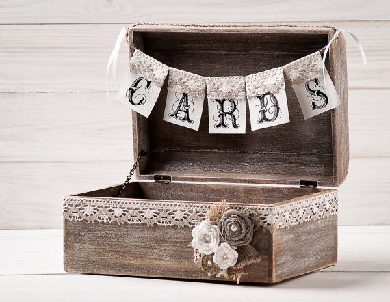 Rustic Wedding Card Box Holder With Burlap And Lace Cards Banner ...