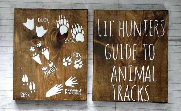 Lil Hunters Guide To Animal Tracks Rustic Wood Set Hunting Nursery Decor Kids Bedroom Woodland