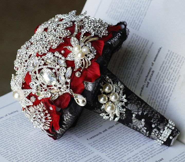 Mariage - Vintage Bridal Brooch Bouquet Pearl Rhinestone Crystal Silver Black Red One Day RUSH ORDER Available BB017LX