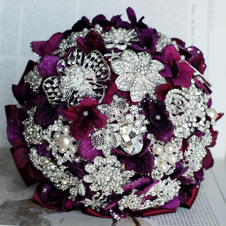 Mariage - Vintage Bridal Brooch Bouquet - Pearl Rhinestone Crystal - Silver Amethyst Dark Purple One Day RUSH ORDER Available - BB019LX