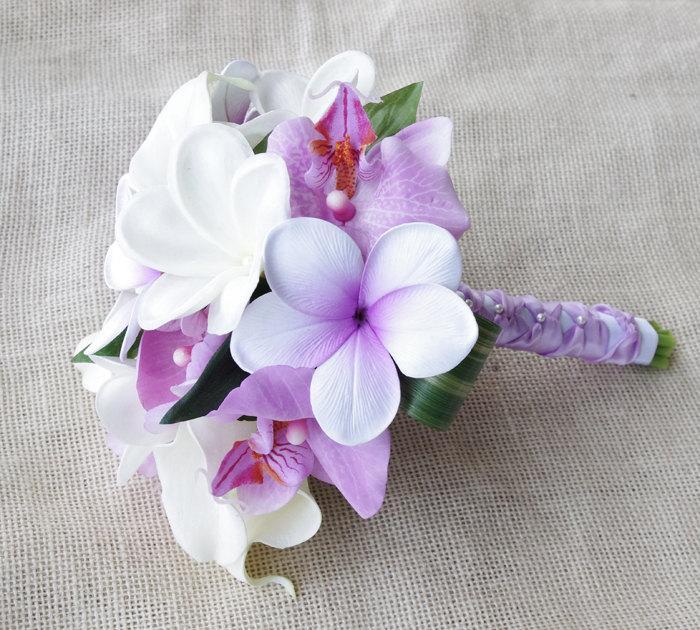 Hochzeit - Purple Silk Flower Natural Touch Lavender Lilac Plumerias and Orchids Beach Wedding Bride Bouquet
