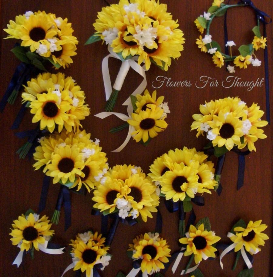 Свадьба - 15pc Sunflower Wedding Package, Silk Bridal Flowers, Woodland Shabby Chic, FFT Original, Made to Order