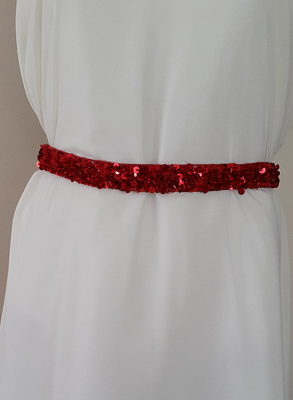 Wedding dress with sequins belt satin wedding belt red for Satin belt for wedding dress