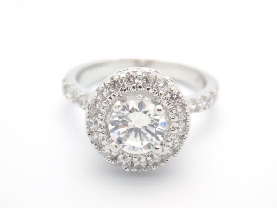 Mariage - Art Deco Engagement Ring Wedding Ring Vintage Inspired Round Cut Double Halo Ring size 5 6 7 8 9 10 - MC1080811AZ