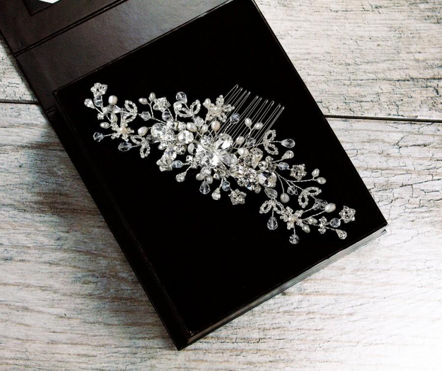 Mariage - Crystal Hair Comb, Floral Hair Comb, Flower Hair Comb, Bridal Hair Comb, Wedding Hair Comb, Bridal Headpiece, Silver Hair Comb, ANNABEL