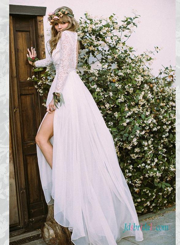 Wedding - H1574 Romance boho slit chiffon wedding dress with long sleeves