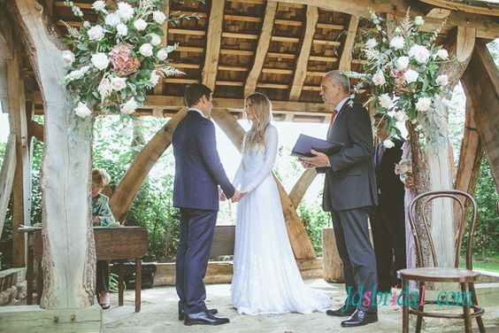 Wedding - H1575 Romance customized lace open back flowing wedding dress