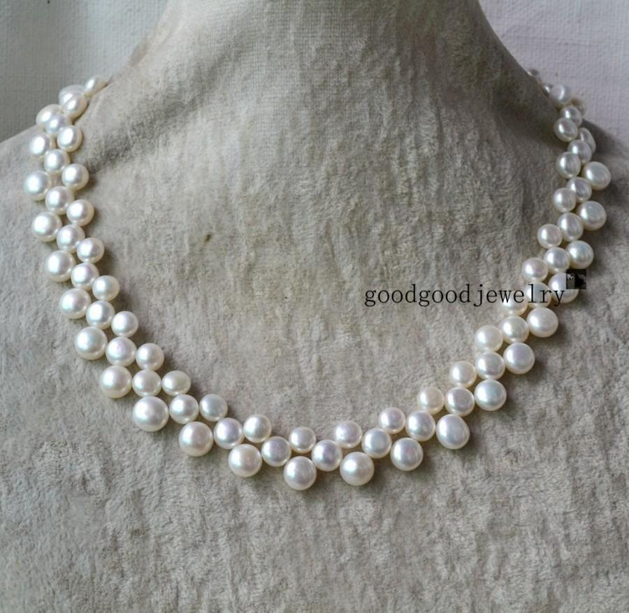 Wedding - pearl necklace - 3 rows 16-17 inches Freshwater Pearl necklace,white pearl necklace, choker pearl necklace, triple strand pearl necklace