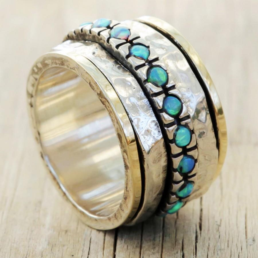 Mariage - Opal ring, Spin ring, Gold and Sterling Silver ring with Blue opal Stones,Romantic Ring, Gift for her, Israel jewelry, Anniversary gift