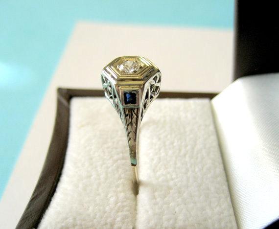 Hochzeit - SALE..Original Art Deco 14kt White Gold and Diamond Floral  Filigree Sapphire Accent Engagement Ring