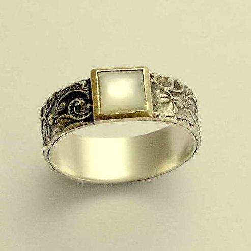 زفاف - Silver gold ring, filigree ring, shell ring, mixed metals band, two tone band, botanical ring, leaves ring, silver band - White spirit R1631