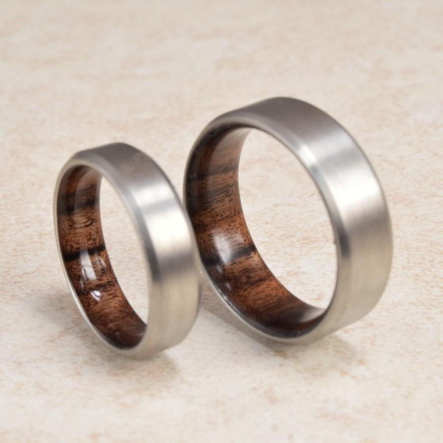 Titalnium Rings With Wood