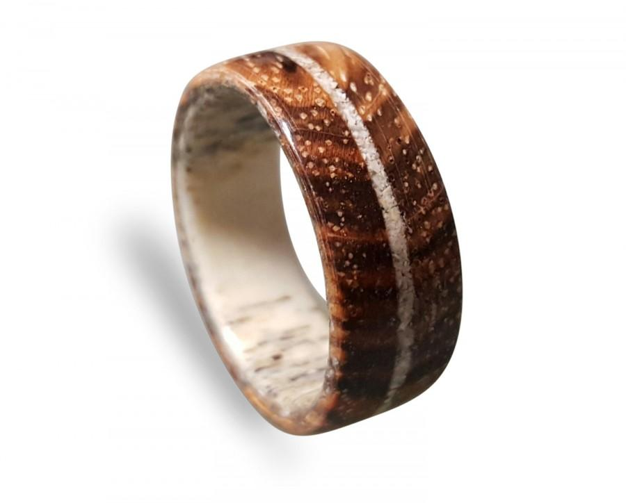 Mariage - Deer Antler ring with Zebrano wood and crushed Shell inlay, Wooden ring with Deer Antler