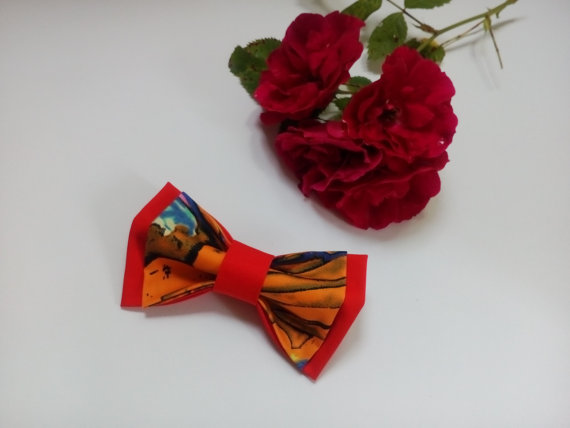 Hochzeit - Wedding BowTIE Red Yellow Bow tie Red Orange Ties Gift for Husband Gifts for Boyfriend Mens bow ties Groomsmen gift Brother's gifts TeensTie