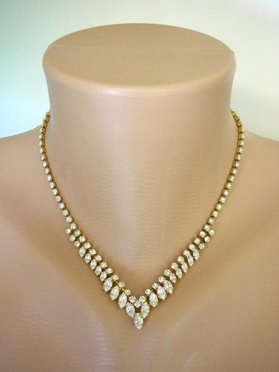 Bridal Necklace Crystal Choker Vintage Jewelry Gold