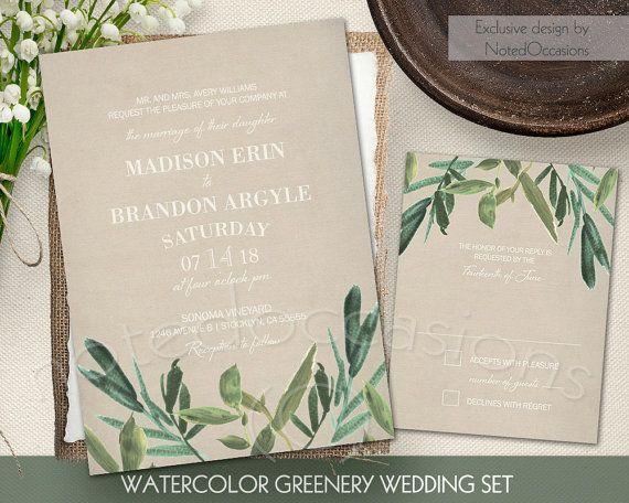 Greenery Wedding Invitation Set