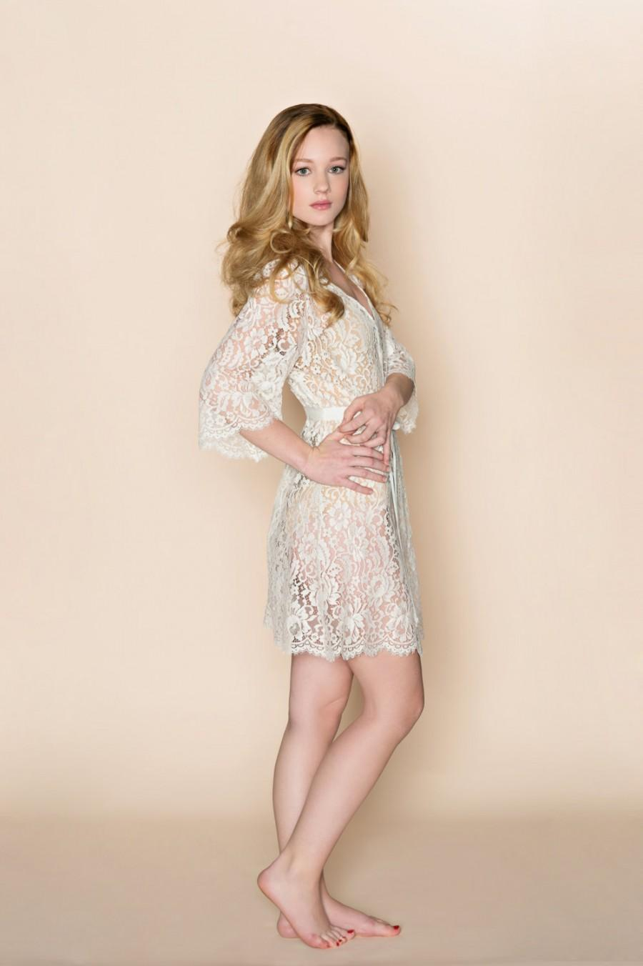 Mariage - Ready to Ship - Kate French Lace wedding robe wrap in off white