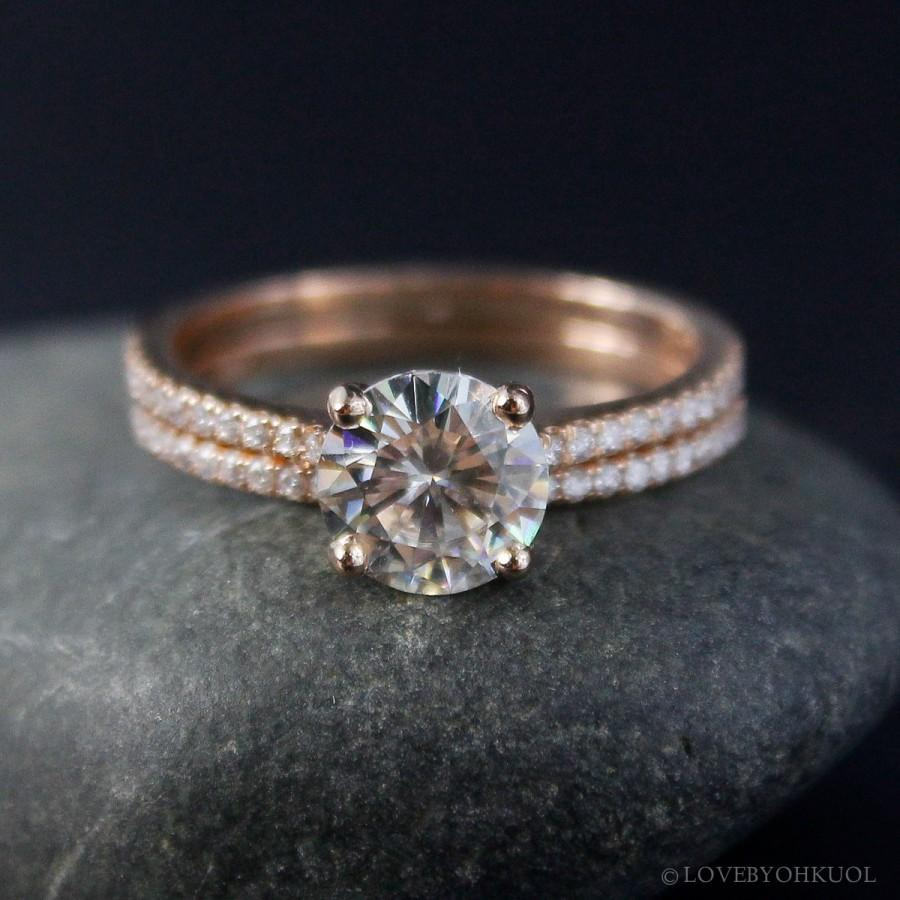 unique moissanite rings rose bands engagement stacking gold diamond cut radiant carat band ring