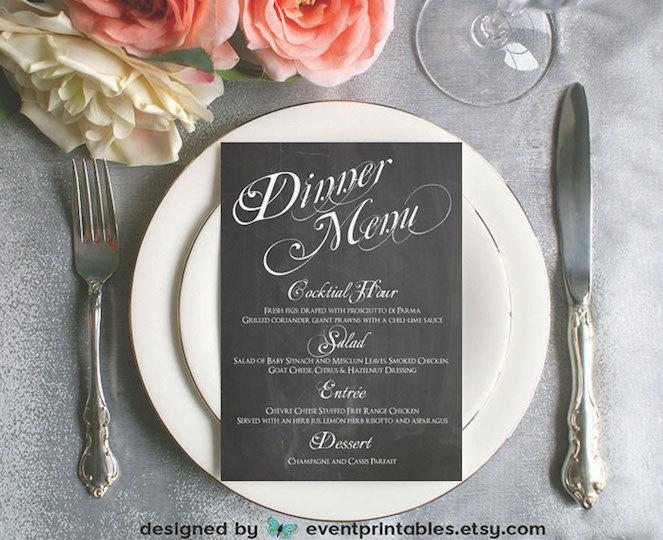 Printable Chalkboard Dinner Menu Card DIY Wedding Reception Vintage Chalk Board Sign By Event Printables