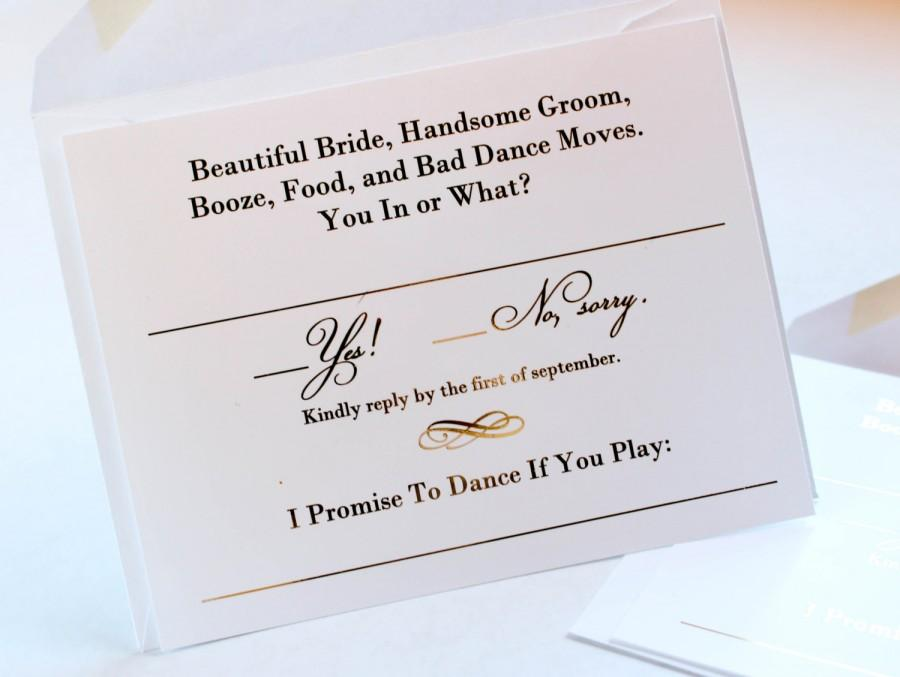 Gold Foil Wedding Invitation RSVP Cards Metallic Gold Or Silver – Wedding Invitations with Rsvp Cards