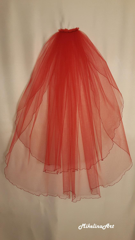Свадьба - Red Wedding Veil, Two Layers