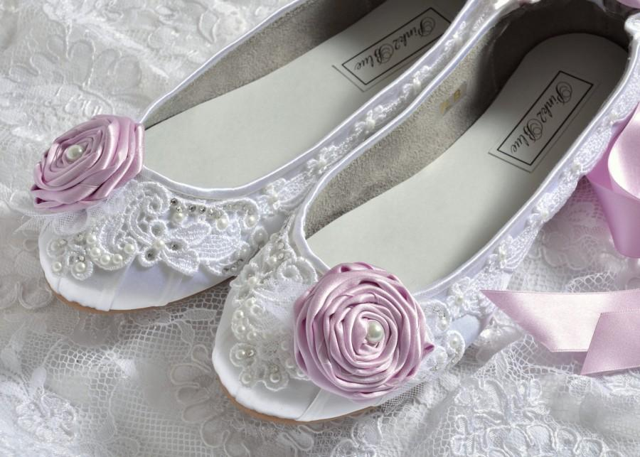 Свадьба - Wedding Shoes - Ballet Flats, Vintage Lace and Lilac Rosettes, Swarovski Crystals and Pearls, The Belle- Women's Bridal Shoes