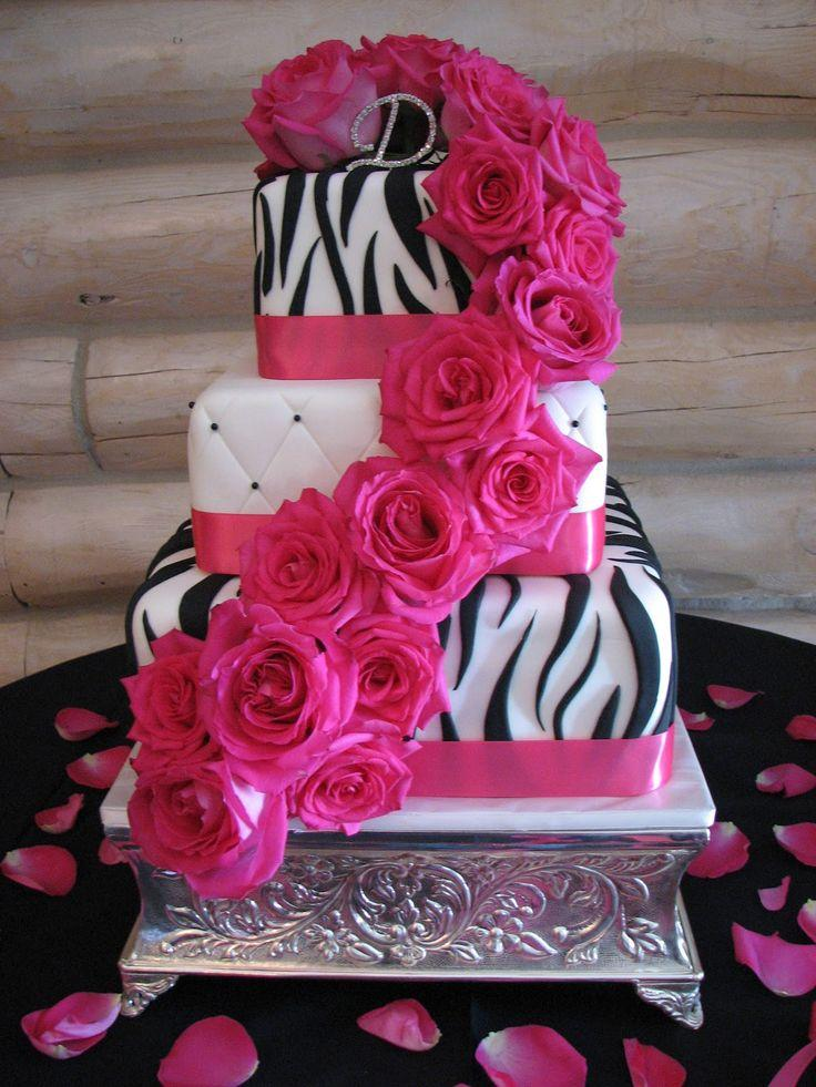 Decadent Designs Leandras Black Pink Zebra Wedding Cake