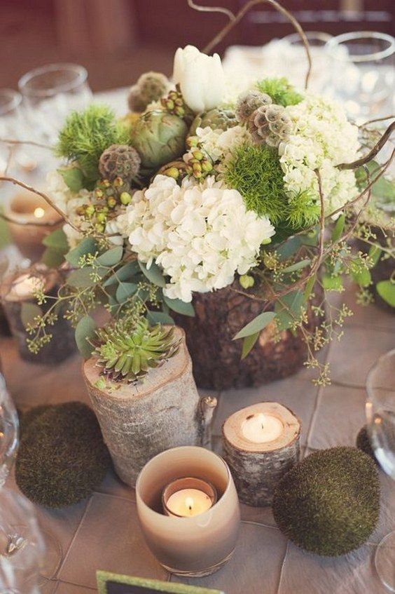 Wedding - 20 Rustic Wedding Centerpieces With Bark Container