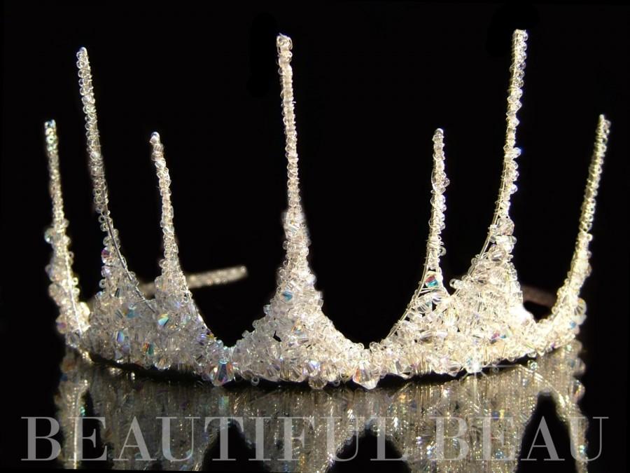 Hochzeit - Half Crown Tiara, Bridal Tiara, Bridal Crown, Wedding Crown, Princess Tiara, Peak Tiara, Swarovski Crystal, Fairytale Tiara - ICE QUEEN
