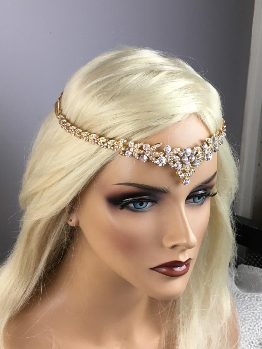 Bridal Gold Leaf Rhinestone Headband Art Deco Tiara Forehead Backside Bohemian Halo Headpiece Wedding Head Jewelry