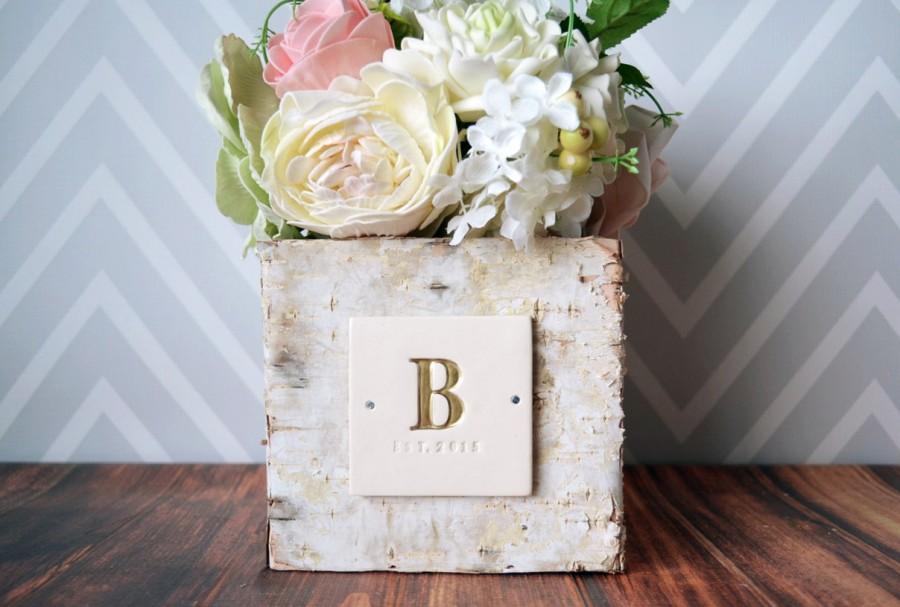 Свадьба - PERSONALIZED Wedding Gift - Square Birch Vase